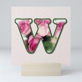Letter W Rose Monogram Mini Art Print