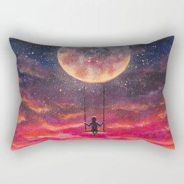 Girl riding on big moon planet fantasy art. Rectangular Pillow