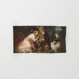 Scene from A Midsummer Night's Dream. Titania and Bottom by Edwin Henry Landseer (1848) Hand & Bath Towel