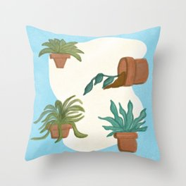 Potted Plants and Garden Care Throw Pillow