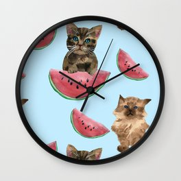 Kittens and sweet watermelon Wall Clock