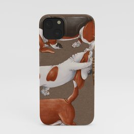 Basset Hound dogs are carrying a cart with pumpkins. Harvesting. Seamless pattern on a brown background.  iPhone Case