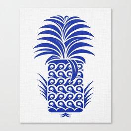 Royal Blue Pineapple - Wave Motif Canvas Print