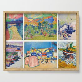 Henry Matisse Collage - 6 Views of England & France, Charing Cross, Mts. Colloure, River Thames, Serving Tray