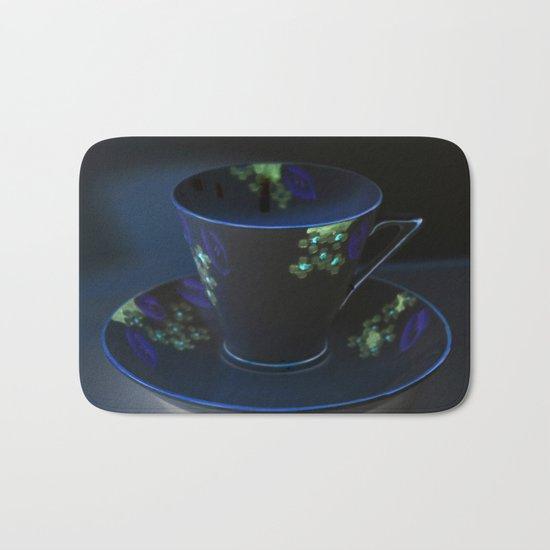 Midnight Blue Teacup | Still Life of Vintage Teacup Bath Mat