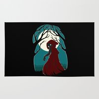 red hood Area & Throw Rugs featuring Red Riding Hood 2 by Freeminds
