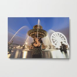 Place de la concorde fountain in Paris Metal Print