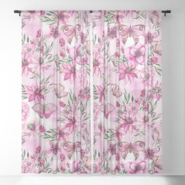 Pink Butterfly Floral Pattern Sheer Curtain