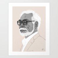 miyazaki Art Prints featuring Hayao Miyazaki by Andy Christofi