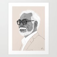 hayao miyazaki Art Prints featuring Hayao Miyazaki by Andy Christofi