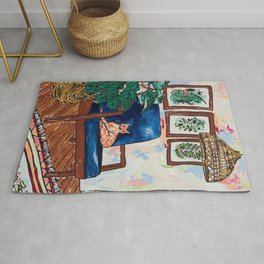 Ginger Cat on Blue Mid Century Chair Painting Rug
