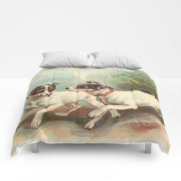 Classic, preppy, vintage jack russell fox terrier dog puppy antique illustration art print Comforters