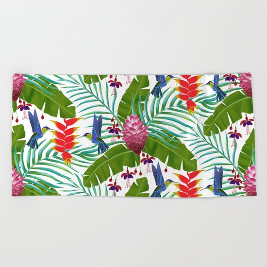 Hummingbird in the Rainforest Beach Towel