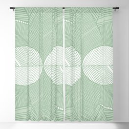 Minimal Tropical Leaves Pastel Green Blackout Curtain