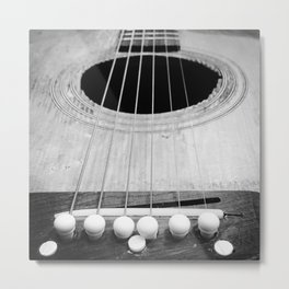 Wooden Acoustic Guitar in Black and White Metal Print