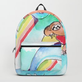 surfing sloth pizza rainbow Backpack