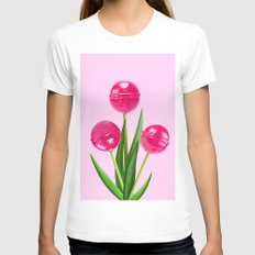 TULIPOP PINK Womens Fitted Tee MEDIUM White