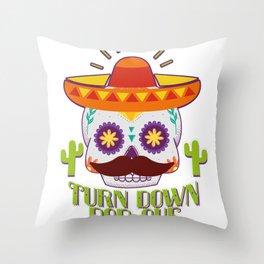 Skull Turn Down Por Que For Cinco De Mayo Party Throw Pillow