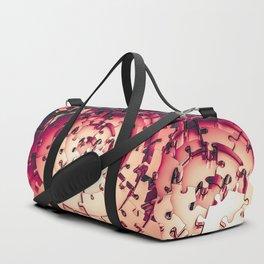 Metal Puzzle RETRO RED / 3D render of metallic circular puzzle pieces Duffle Bag