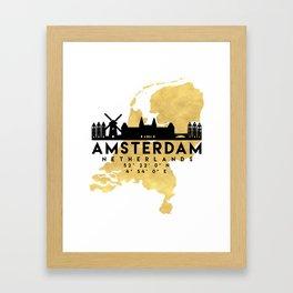 AMSTERDAM NETHERLANDS SILHOUETTE SKYLINE MAP ART Framed Art Print