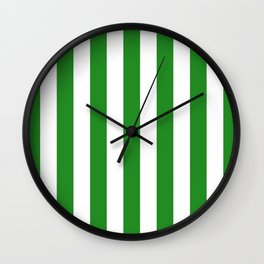 Vertical Stripes (Forest Green/White) Wall Clock