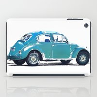 volkswagon iPad Cases featuring Blue VW Bug by Regan's World
