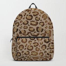 Brown Glitter Leopard Print Pattern Backpack