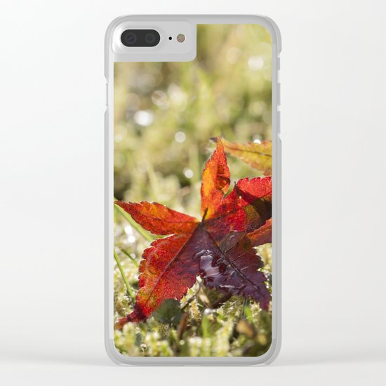 Indian Summer II Red marple leaves in wet grass at backlight Clear iPhone Case