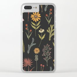 flat lay floral pattern on a dark background Clear iPhone Case