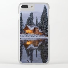 Cabin in Winter Woods (Color) Clear iPhone Case