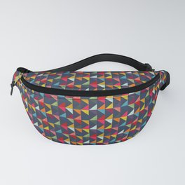 Fanny pack with colorful geometric triangle pattern design on navy blue background Fanny Pack