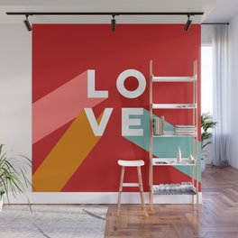 True Love Never Ends on Red Wall Mural