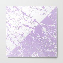 modern color block inverted white purple lavender marble pattern Metal Print