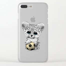 Snow leopard Cub With Football Soccer Ball Clear iPhone Case