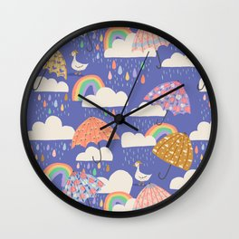 Spring Showers with Ducks Wall Clock