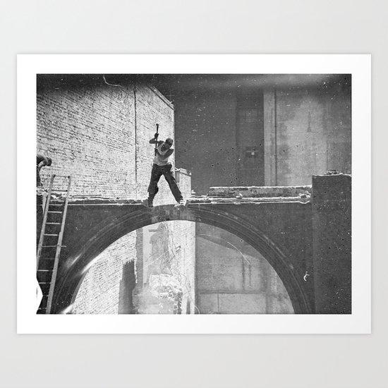 Old photo man of the bridge Art Print