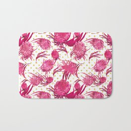Pink and Gold Australian Native Floral Pattern - Protea, Grevillea and Eucalyptus Bath Mat