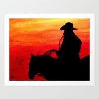 Cowboy on a Red Sunset Art Print