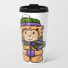 A Lion in Winter Metal Travel Mug