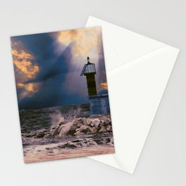 Light House in storm Stationery Cards