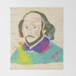 Portrait of William Shakespeare-Hand drawn Throw Blanket