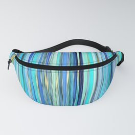 turquoise blue gold abstract striped pattern Fanny Pack