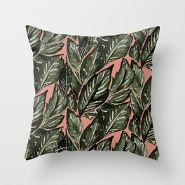 Feathery Leaves - Burnt Orange Olive Throw Pillow