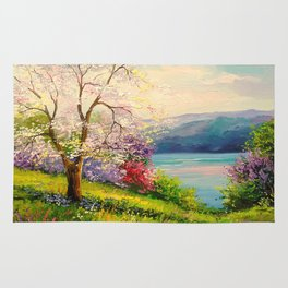 Cherry blossom by the river Rug