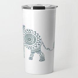 Mama Elephant Walking Baby Elephant Circle Art Travel Mug