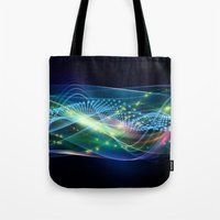 data Tote Bags featuring Data Transmission by Tom Lee