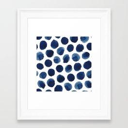 Watercolor polka dots Framed Art Print