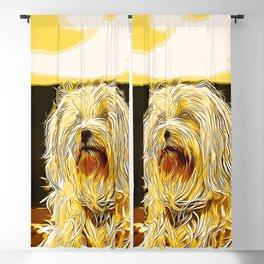 hairy havanese dog vector art gold yellow Blackout Curtain