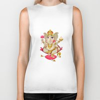 ganesh Biker Tanks featuring Ganesh by Danilo Sanino