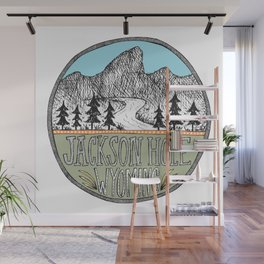 Jackson Hole circle illustration Wall Mural